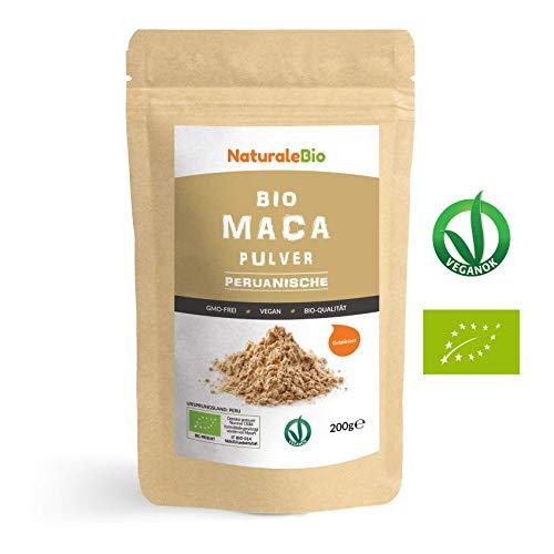Maca Pulver Bio [ Gelatiniert ] 200g. Natürlich und Rein, hergestellt in Peru aus Bio Maca Wurzel. Superfood reich an Aminosäuren, Ballaststoffen, Vitaminen und Mineralien. NATURALEBIO