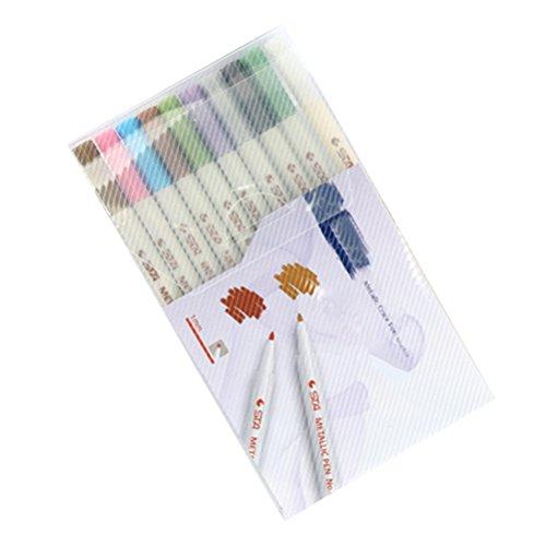 NUOLUX 10pcs Marker Metallic farbigen auf Grundlage von Öl von Nikki Strange metallisch Stifte Malerei Kunst-Set für die Herstellung von Papier Keramik Rock Malerei Scrapbooking Album von Foto DIY - Grundlage Öl