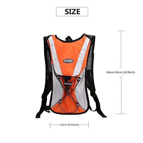 West Biking stärker Hydration Backpack + 2,5l Wasser Rucksack, muli-functions Kleine Werkzeuge Tasche, leichte Tasche für Reiten Camping Bergsteigen Bergsteigen, 6Farben Orange Backpack