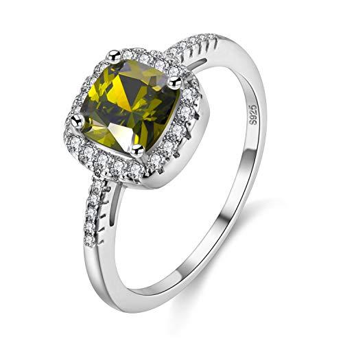Uloveido Simulierte Green Peridot Solitaire Geburtstag Ring für Frauen, Square Halo Ring, August Birthstone Ring für Mama (grün, Größe 54) Y3100 (Birthstone Billig Ringe)