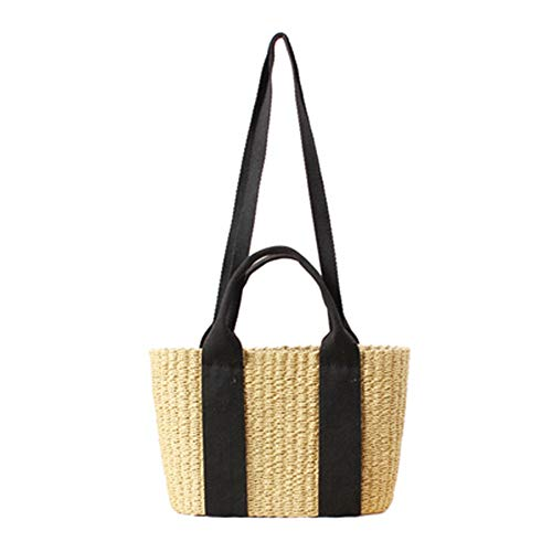 Damen Stroh Handtaschen Frauen-Webart-Handtaschen-einfache großzügige Sommerferien-Strand-Tote gesponnene Griff-Beutel-Umhängetasche Sommer-Strandtasche ( Farbe : Schwarz , Größe : 30*20cm ) -