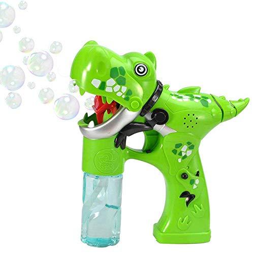 DokFin Dinosaurier Bubble Shooter Toy, Dragon Bubble Gun Zauberstab Cartoon Dinosaurier Form Spielzeug mit Led Blinklicht Sounds und 2 Flaschen Lösung für Mädchen Jungen