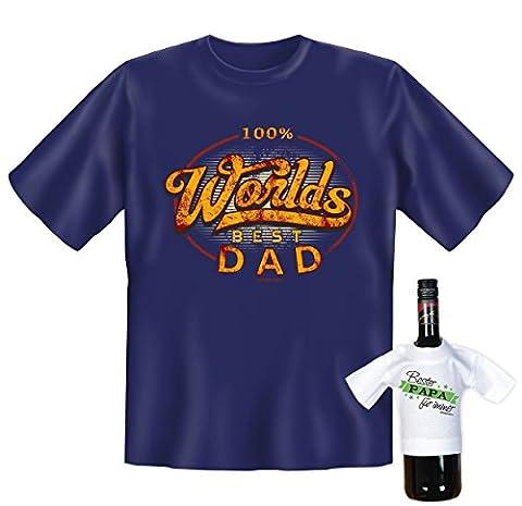 100% Worlds Best Dad, witziges T-Shirt, Funshirt, Motivshirt, Geschenke Set mit Mini T-Shirt, (Super Dad Kostüm-ideen)