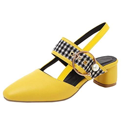 Artfaerie Damen Slingback Mary Jane Chunky Heels Riemchen Pumps Niedriger Absatz Blockabsatz 4cm Square Toe Schuhe (EU 42,Gelb) Chunky Heel Slingbacks