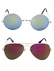 Amour-Propre Multicolor UV Protected Sunglass For Unisex- Pack Of 2 (AM_CMB_LP_1278)