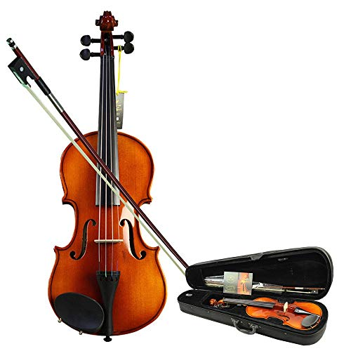 Violine Massivholz Fichte Face Board Handcrafted Acoustic Violin Fiddle Kit 4-Saiter Instrument mit Hard Case Bogen Kolophonium für Studenten Anfänger 4/4, 3/4, 1/2, 1/4, 1/8, 1/10 Für Anfänger