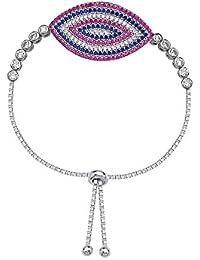 Plata de Ley ajustable en color rosa y azul circonitas cúbicas Marquis pulsera–9,50cm