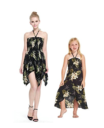 Madre-e-hija-que-coinciden-con-Hawaii-Luau-Vestido-de-nia-mariposa-en-Palma-Verde-en-negro-6