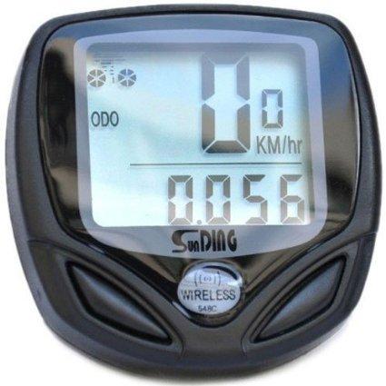 Ckeyin Microordenador para bicicleta multifunción, inalámbrico, resistente al agua, con pantalla LCD, odómetro, velocímetro, comparador de velocidad, velocidad media, máxima y relativa, tiempo, distancia y distancia total del