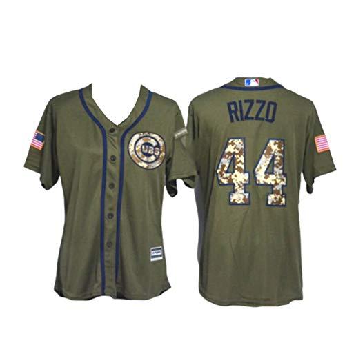 Komfortabel Jersey Baseball Trikot MLB Major League Chicago Cubs 44# BIZZO Atmungsaktiv Stickerei T Shirt Tops für Männer,Army-Green,Adult-XL