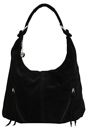 AMBRA Moda Damen Ledertasche Shopper Wildleder Handtasche Schultertasche Beuteltasche Hobo Tasche Groß WL822 (Schwarz) -