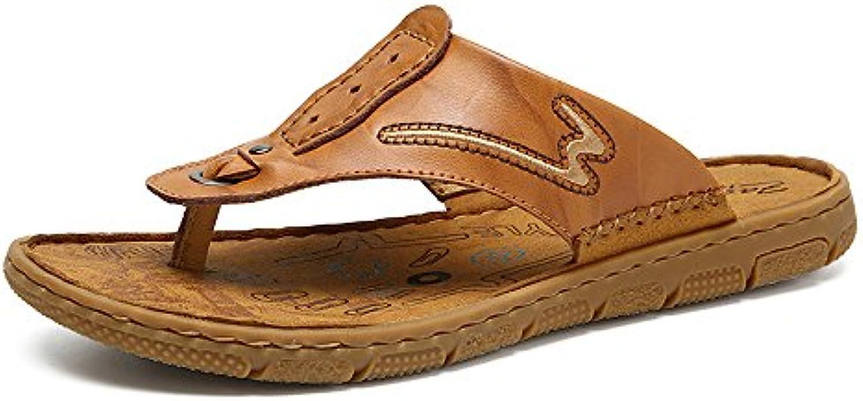 Ruiyue Chancletas de la Correa de los Zapatos, Deslizadores de Playa Casuales del Cuero Genuino Sandalias Planas...