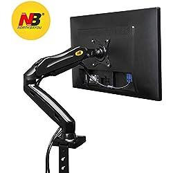 """NB North Bayou F80 Noir - Support Design Professionnel pour écrans PC LCD LED 43-69 cm / 17-27"""". Réglage dans Plusieurs Axes, Pivot, qualité supérieure. Ressort à gaz. jusqu'à 6,5 kg"""