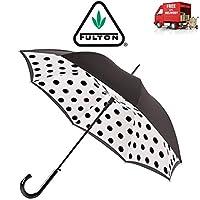 Fulton Polka Dot Bloomsbury Walking Umbrella Black Automatic Double Lining 7F3542
