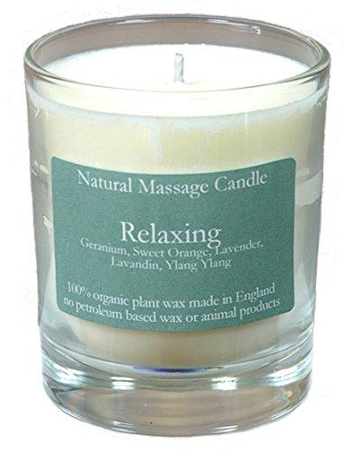 Massage Kerze RELAXING (Entspannend) mit Ölen aus Geranium, Orange, Lavendel, Lavendin und Ylang Ylang, hergestellt aus 100% Pflanzenwachs im recyceltem Glas -