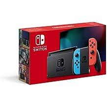 Console Nintendo Switch avec une Joy-Con bleu neon et une Joy-Con rouge neon