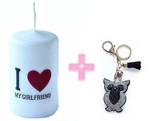 I Love My Girlfriend Regalo tamaño de la vela 6cm x 10cm + El color negro del Rhinestone búho regalo de la cadena del Keyring del anillo del encanto colgante de cristal del monedero del bolso clave