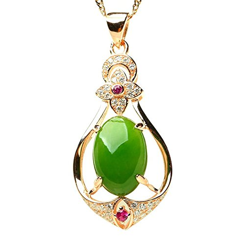 Für Frauen Jade-schmuck (Domybest Mode Frauen Silber Überzogene Intarsien Jade Jasper Halskette Anhänger Schmuck)