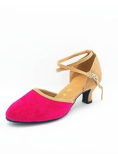 La mode moderne Non Sandales Chaussures de danse pour femmes personnalisables en daim talon Cubain moderne noir/bleu/marron/vert/rose US8.5/EU39/UK6.5/CN40