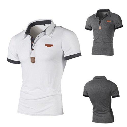 Toamen Men's Super Premium Short Sleeve Classic Polo T-Shirt, Fashion Personality Men Boys Casual Slim Letter Tees Short Sleeve Shirt T-Shirt Blouse