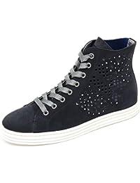 C7560 sneaker donna HOGAN REBEL R182 scarpa blu H forata shoe woman b7db78017a4