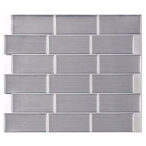 SYQH Subway Silver Tile Selbstklebende Peel und Stick Wall Decal Aufkleber DIY Küche Bad Home Decor Vinyl,C1 -