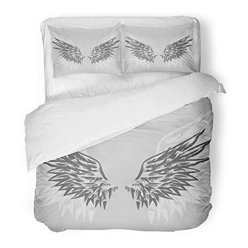 LnimioAOX 3-teiliges Bettwäscheset aus gebürstetem Mikrofaser-Stoff Falcon Wings Handgezeichnete Angelic Eagle Angels Haustier-Vogel-Clips Crest Clip Atmungsaktives Bettwäscheset mit (Vogel Clip Tie)