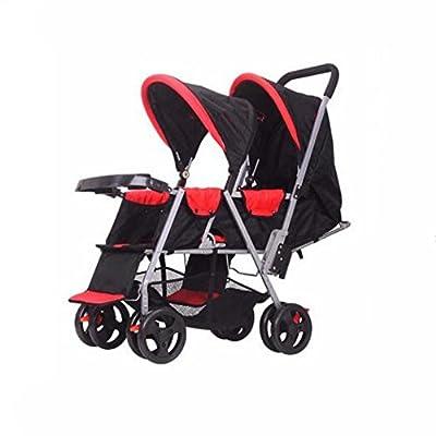 Cww Antes Y Después del Cochecito De Bebé Gemelo Puede Sentarse Cochecito De Bebé De Doble Asiento Reclinable Ligero Asiento Doble Plegable