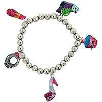 Braccialetto elastico con perline e 5 ciondoli, color