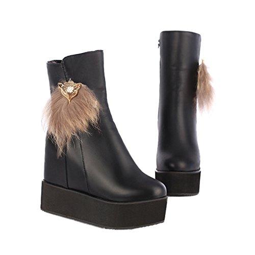 Xianshu Damen Wohnungform Shoes Erhöht Reißverschluss Keilabsatz Knöchel Stiefel (Schwarz-36 (Plateau Stiefel Billig)