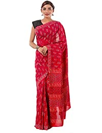 Beauty Women's Red Floral Print Cotton Saree Sari | Hand Block Print Saree-Sari By Handicraft-Palace
