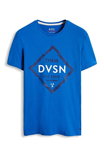 edc by ESPRIT Herren T-Shirt 996cc2k900b - mit Gummiertem 3d-print - Slim Fit Blau (BRIGHT BLUE 2 411)