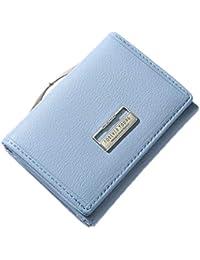 KELIEF Carteras de Damas con Clip Monedero Portatarjetas de Bolsillo Billetera pequeña Monedero Femenino Blue