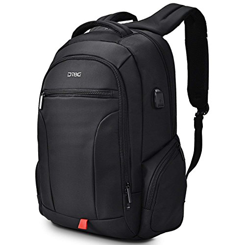 DTBG Laptop-Rucksack 43,9 cm (17,3 Zoll), wasserabweisend, für Outdoor-Reisen, Business-Rucksack für Herren und Damen, strapazierfähig, College-Schulranzen mit USB-Ladeanschluss für Laptops mit 13,14,15,17 Zoll schwarz Schwarz  17.3 Inch