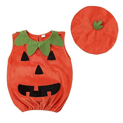 LBAFS Halloween-Baby-Kürbis-Klage-Spitzenbluse/Kleid Mit Einem Hut, Reizende Festliche Kostüm-Kleidung Für ()