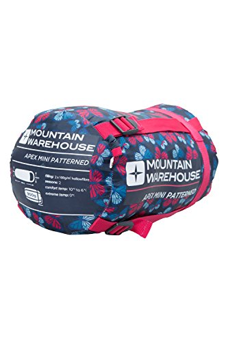 Mountain Warehouse Sleeping Bag - Apex Mini Patterned - Lightweight Compact Season Pink