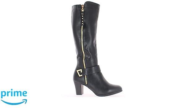 ChaussMoi Schwarze Damen-Stiefel mit 6cm Absatz - 39 WHswkB9xs