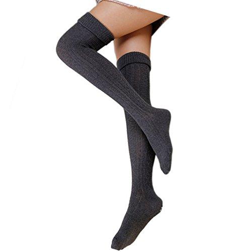 Cindeyar 1 Paar Damen Overknee Strümpfe Lange Kniestrümpfe Retro Schüler Überknie Strick Socken (Dunkelgrau)