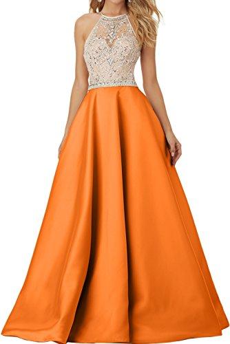 Sunvary Exklusive Neu Rund Stein Paillette Promkleider Lang Abendkleider Satin A-Linie Orange