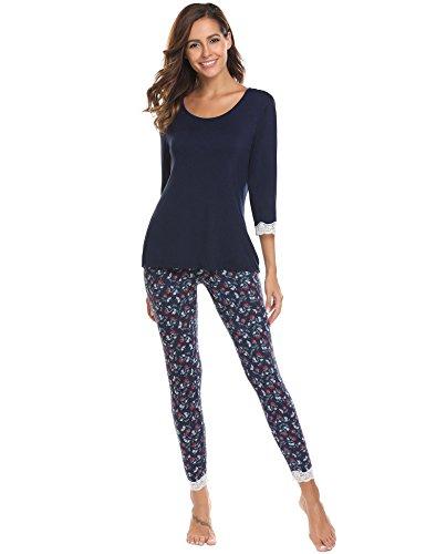 ADOME Damen Schlafanzug lang Blumen herbst Winter Jersey Nachtwäsche warm leicht Atmungsaktiv