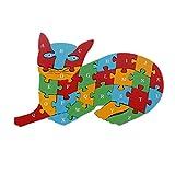 #5: Animal Wooden Jigsaw Puzzle Alphabet Number Building Blocks - Cat (WNTb065)