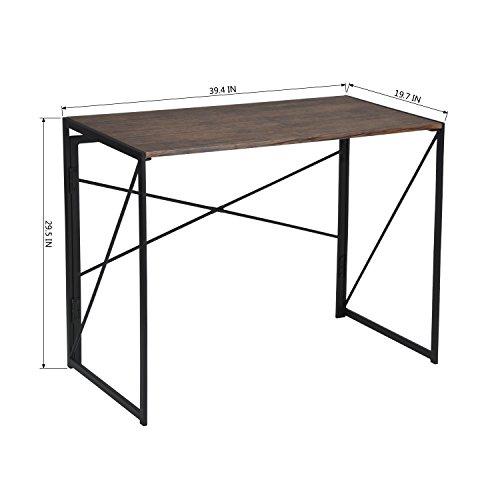 Bureau pour ordinateur en bois et m tal large surface for Bureau en bois pour ordinateur