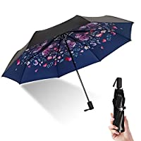 Windproof Folding Travel Umbrella, Sun &Rain Protection Portable Lightweight Collapsible 3 Layer with UV Protection for Women and Men Outdoor