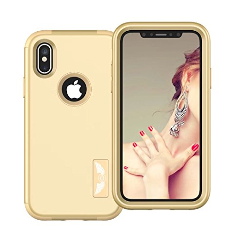 iPhone X Coque, Lantier 3in1 Anti Slip Scratch Dual Layer Heavy Duty Angel Wings Hybrid Armor Hard Soft Rubber Full Body Protective Durable Shockproof Case Cover pour Apple iPhone X Or