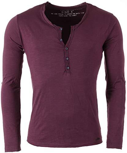 Key Largo Herren Uni Henley Longsleeve Ginger Button Langarm T-Shirt mit Kopfleiste Slim fit MLS00038, Grösse:S, Farbe:Dark red -