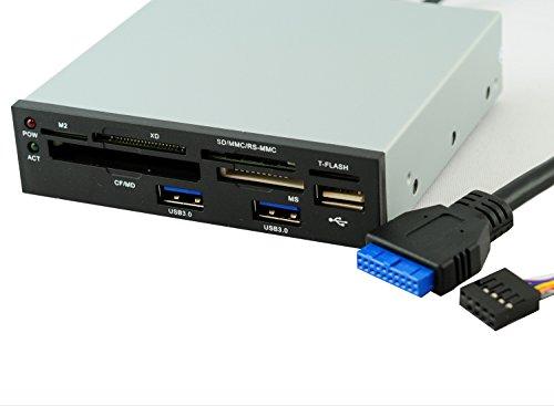 """RHOMBUTECH® 3,5"""" interner Kartenleser, Multipanel mit 2 x USB 3.0 und 1 x USB 2.0 Schnittstelle + Cardreader."""