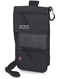 Velten - Hochwertiger Brustbeutel mit Sichtfenster - Brusttasche für Damen und Herren - Mit Karabiner und Gürtelschlaufe - 14 Fächer inkl. RFID Schutz - Smartphone, Dokumente usw.
