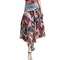 GAGA Women Casual High Waist Skirt Midi Long Patchwork Denim Skirts 4 M