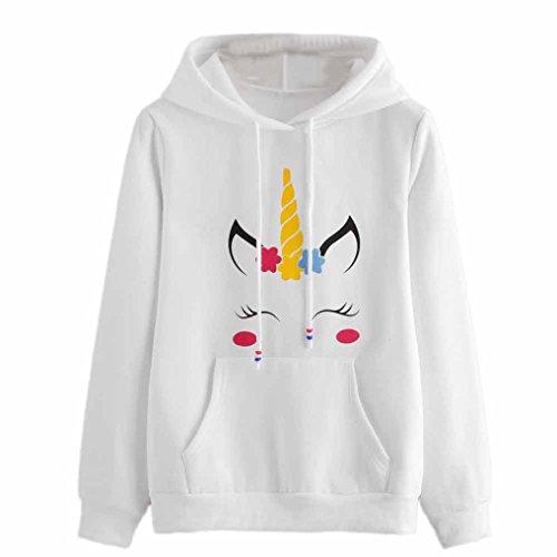 SHOBDW Mujeres Unicornio de impresión de Manga Larga Sudadera con Capucha suéter Camiseta Tops (Blanco 7650, L)