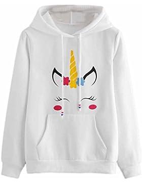 SHOBDW Mujeres unicornio de impresión de manga larga sudadera con capucha suéter camiseta tops